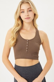 Love Tree Rib Snap Bra Top - Front cropped