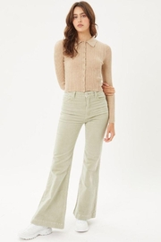 Love Tree Ribbed Collared Sweater Top - Front cropped