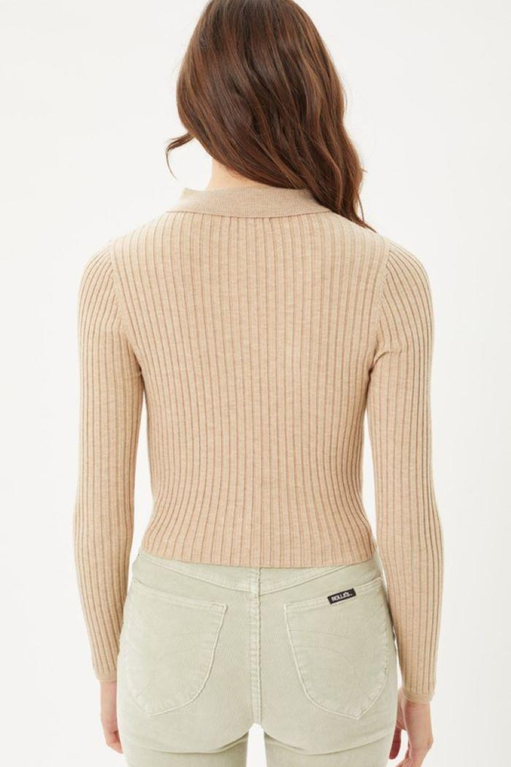 Love Tree Ribbed Collared Sweater Top - Back Cropped Image