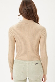 Love Tree Ribbed Collared Sweater Top - Back cropped
