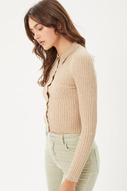 Love Tree Ribbed Collared Sweater Top - Side cropped