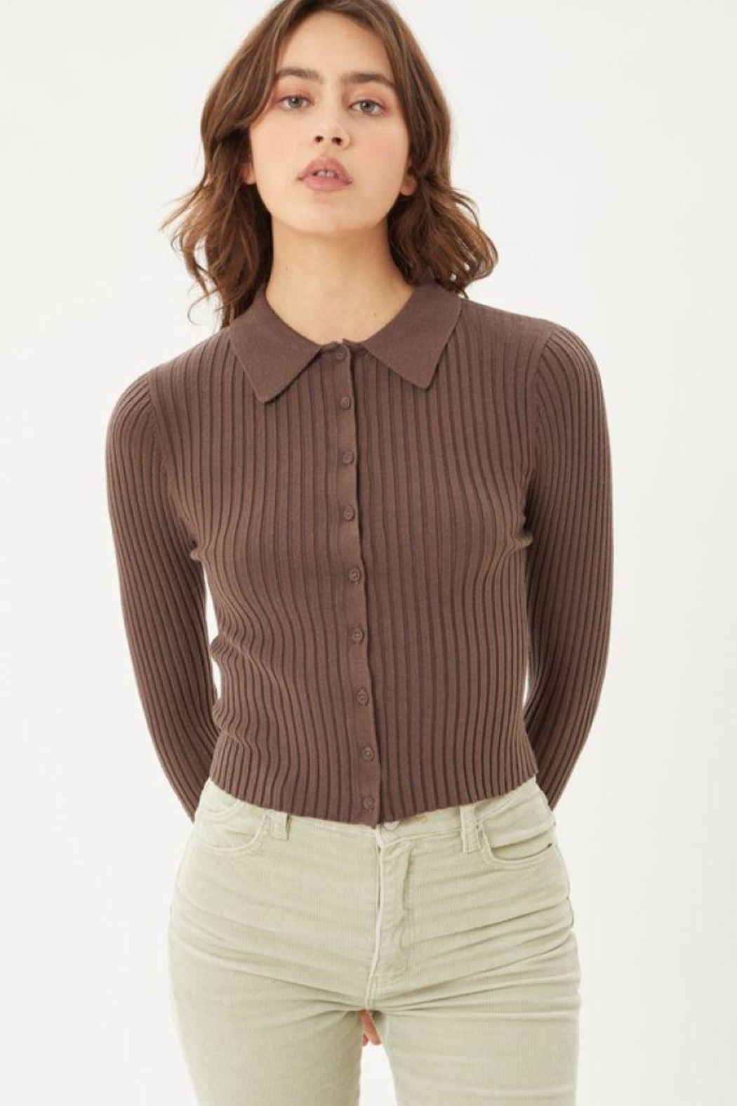 Love Tree Ribbed Collared Sweater Top - Front Cropped Image