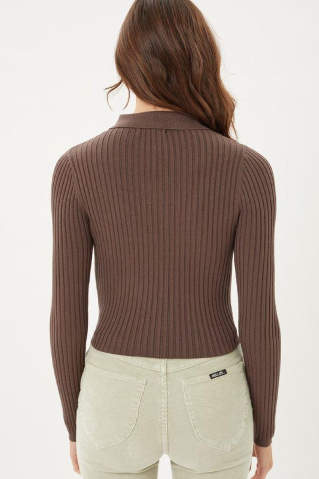 Love Tree Ribbed Collared Sweater Top - Side Cropped Image