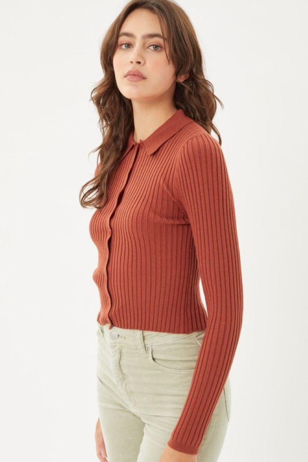Love Tree Ribbed Collared Sweater Top - Front Full Image