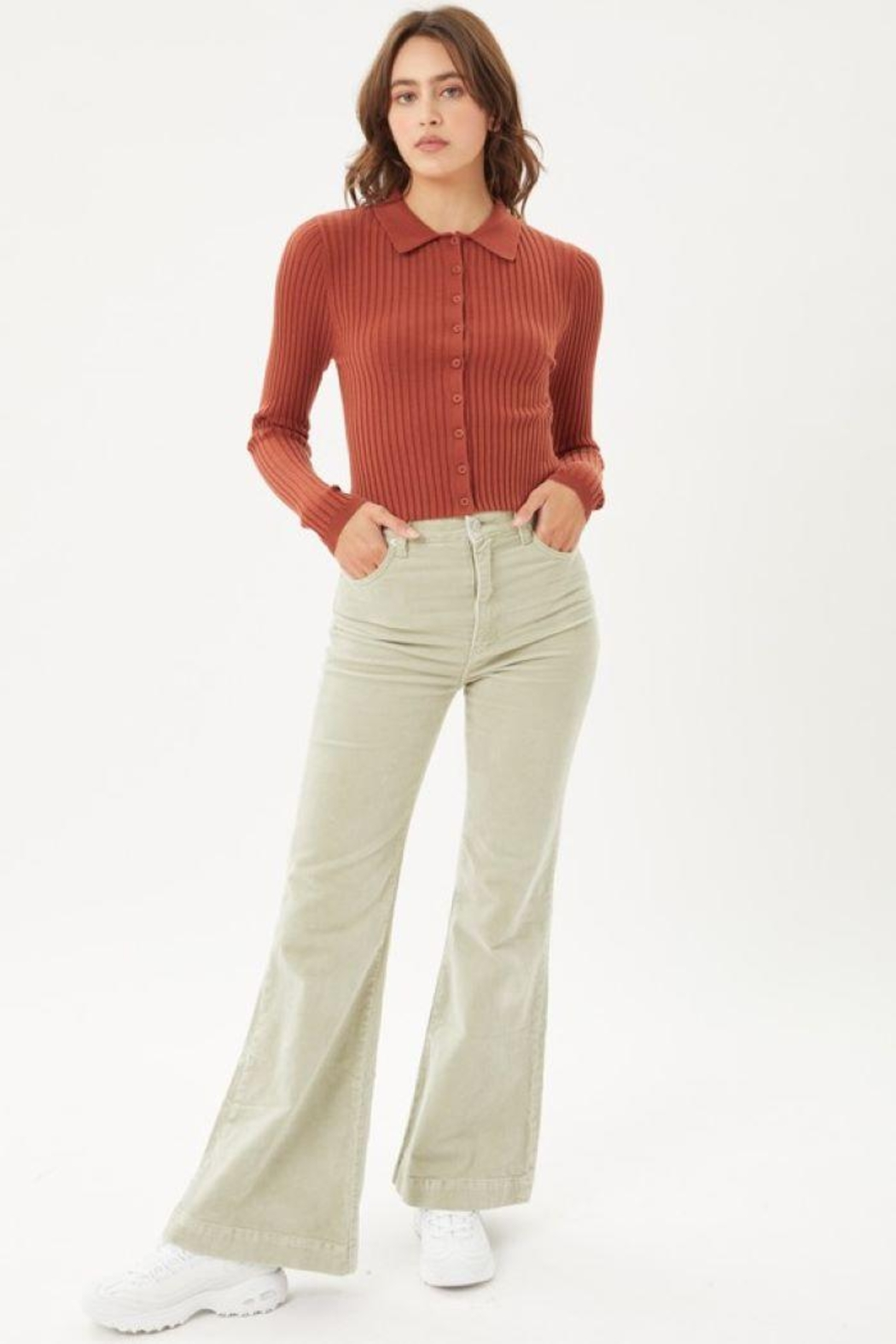 Love Tree Ribbed Collared Sweater Top - Main Image