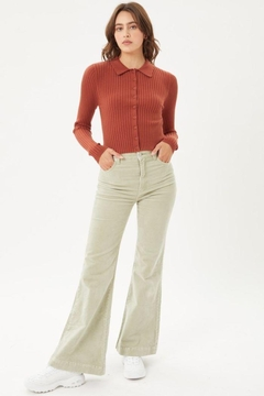 Shoptiques Product: Ribbed Collared Sweater Top