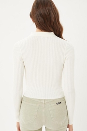 Love Tree Ribbed Collared Sweater Top - Front full body