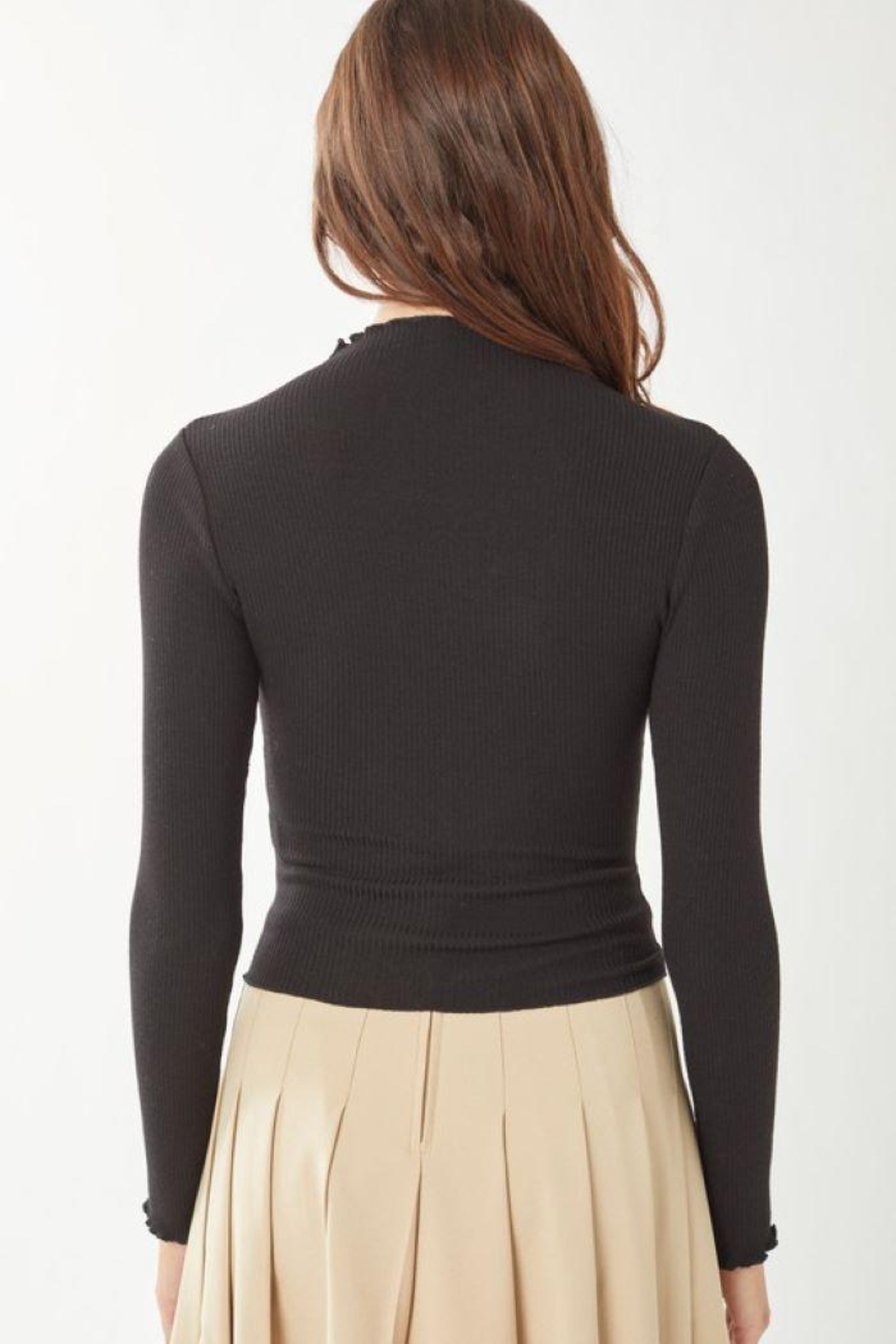 Love Tree Ribbed Long Sleeve Top - Back Cropped Image