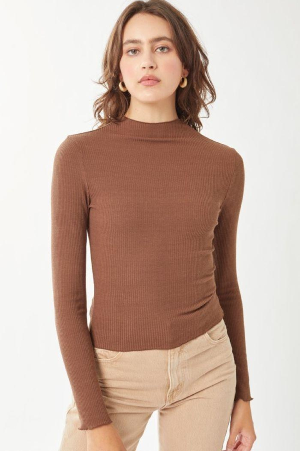Love Tree Ribbed Long Sleeve Top - Front Cropped Image