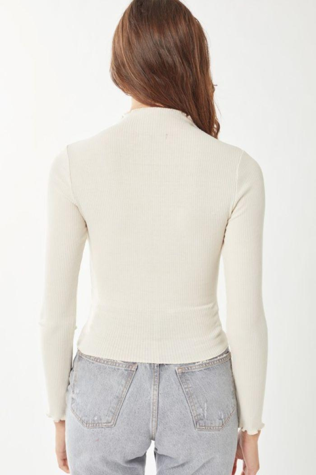 Love Tree Ribbed Long Sleeve Top - Front Full Image