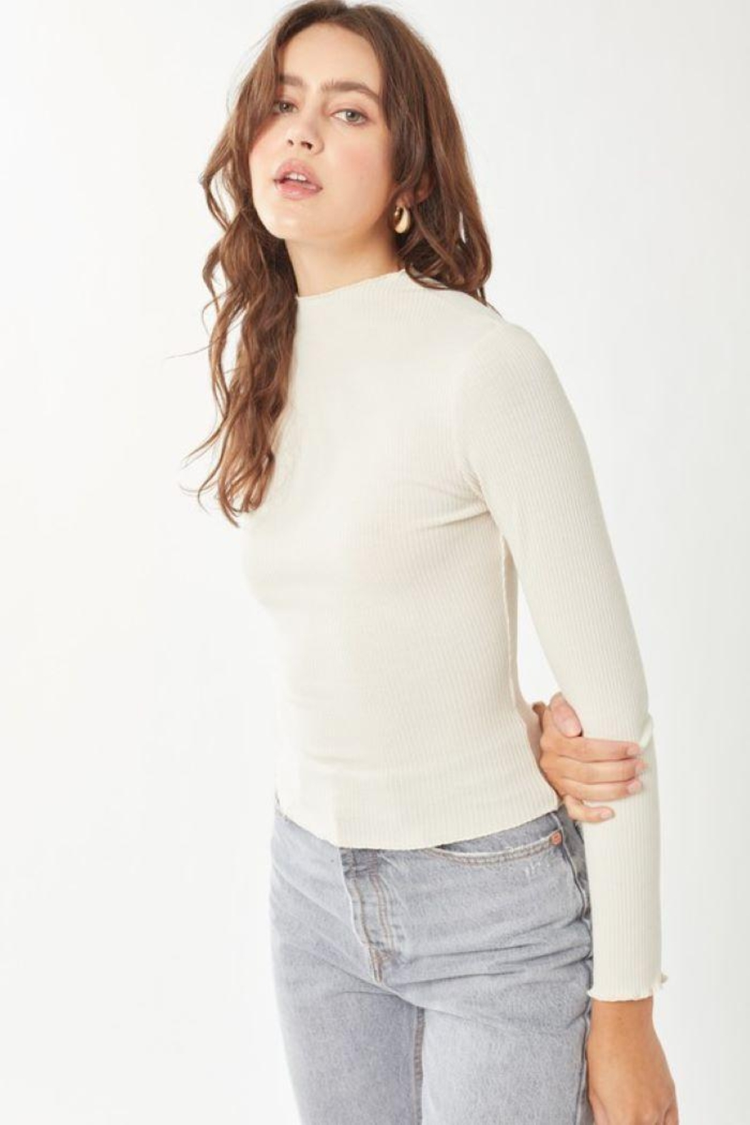 Love Tree Ribbed Long Sleeve Top - Side Cropped Image