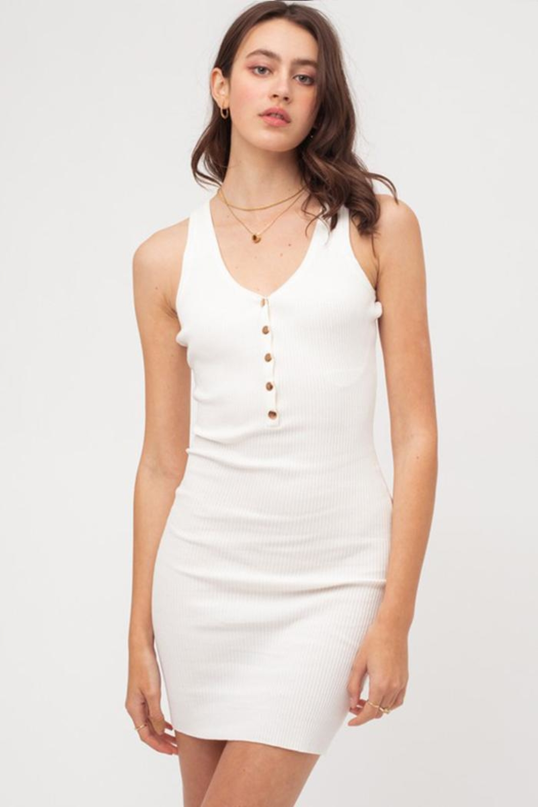 Love Tree Ribbed Mini Dress - Front Cropped Image
