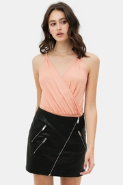 Love Tree Ribbed Surplice Bodysuit - Front cropped