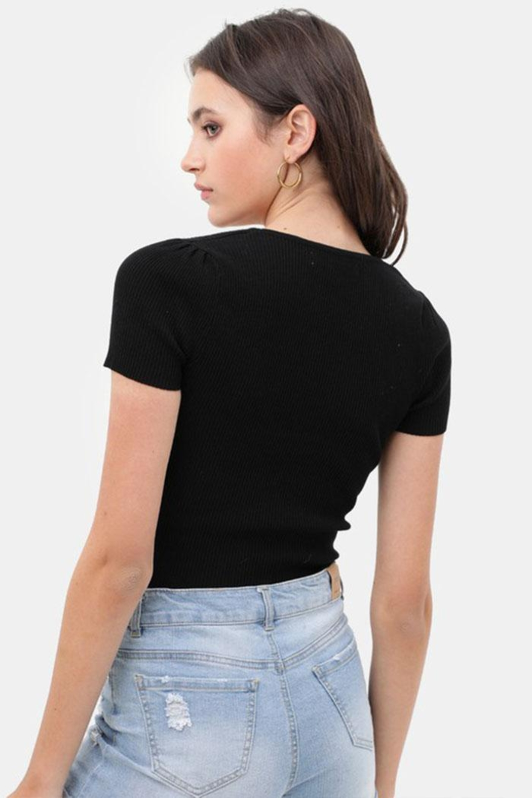 Love Tree Ribbed Sweetheart Top - Back Cropped Image