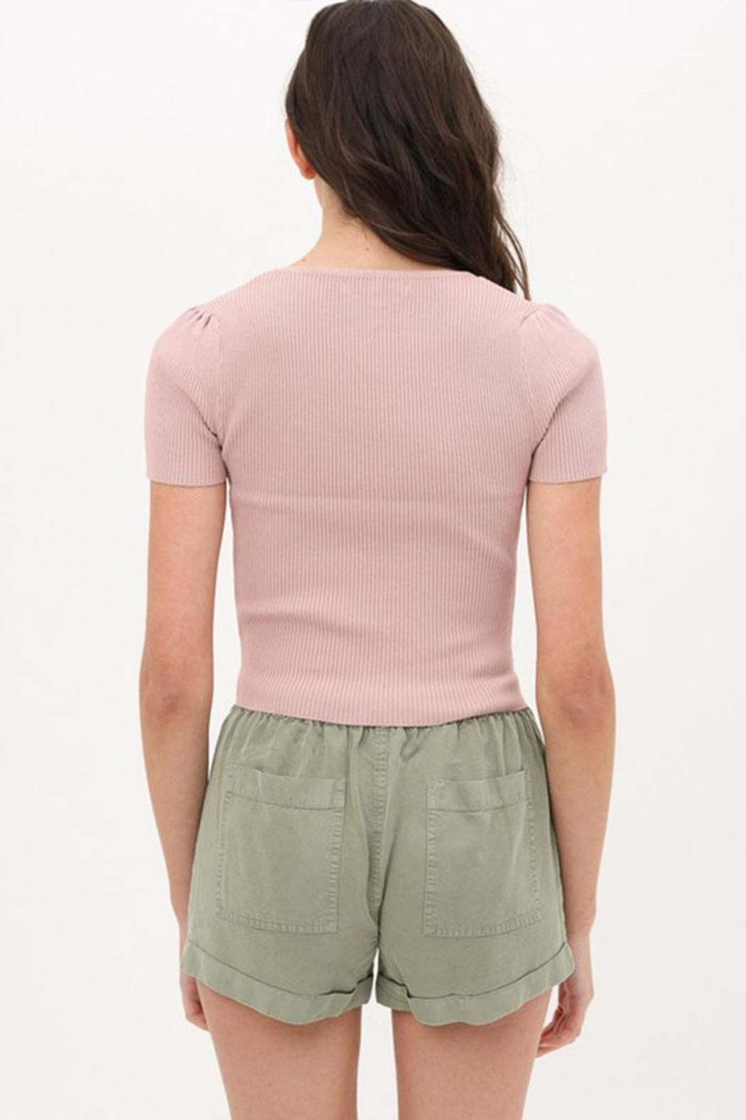 Love Tree Ribbed Sweetheart Top - Side Cropped Image