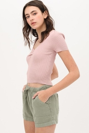 Love Tree Ribbed Sweetheart Top - Front full body