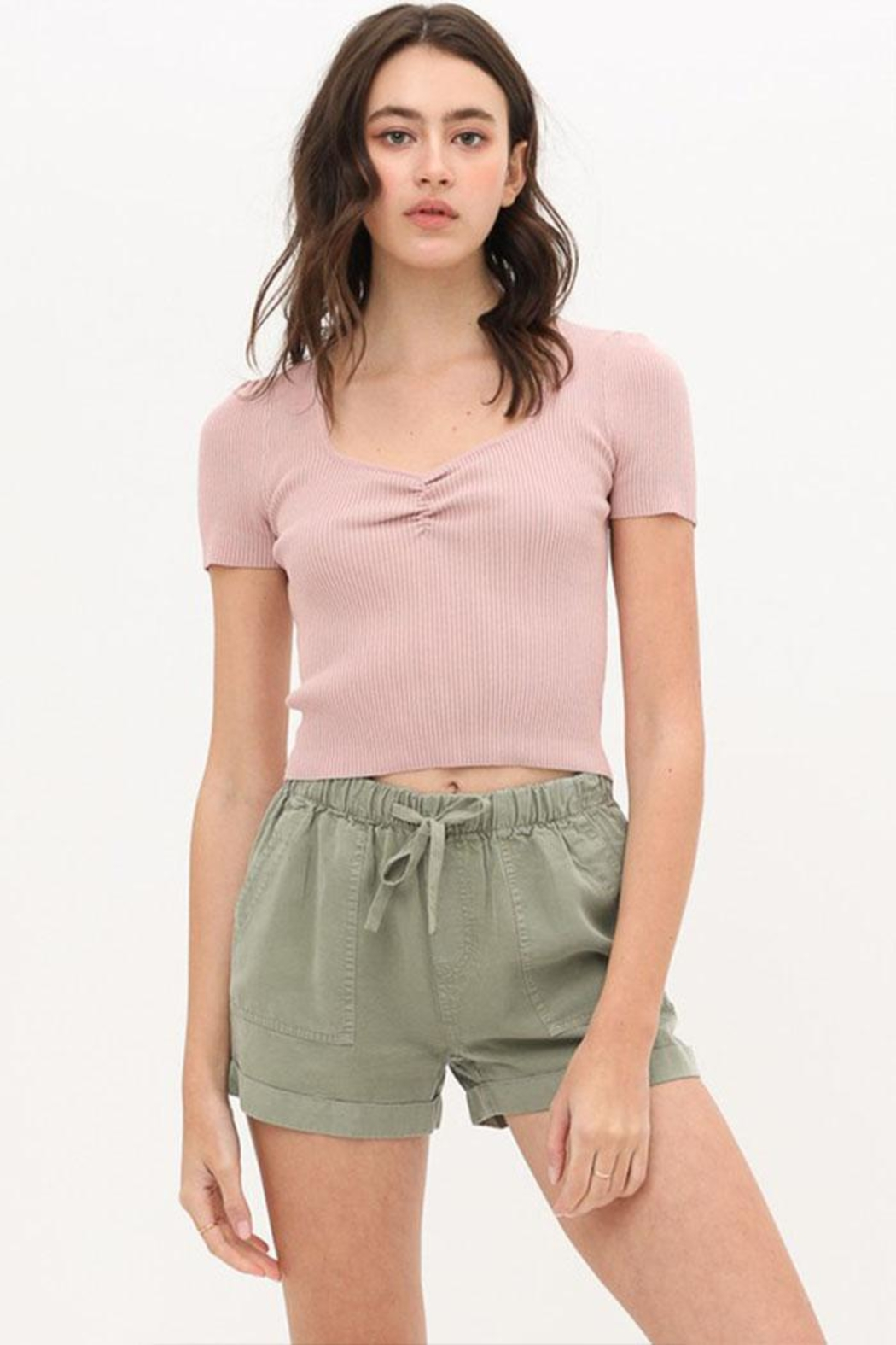Love Tree Ribbed Sweetheart Top - Front Cropped Image