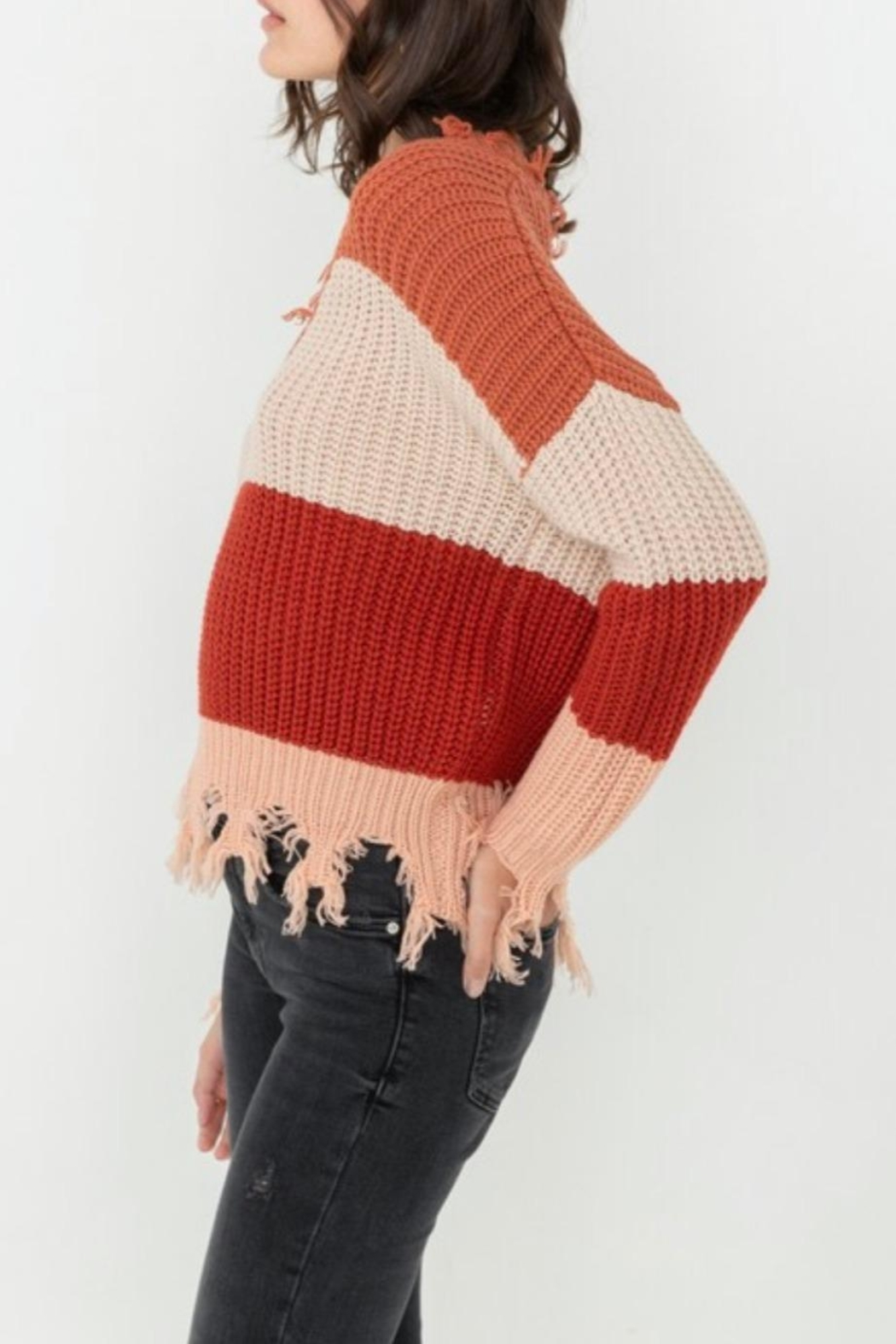Love Tree Ripped Fringed Sweater - Front Full Image