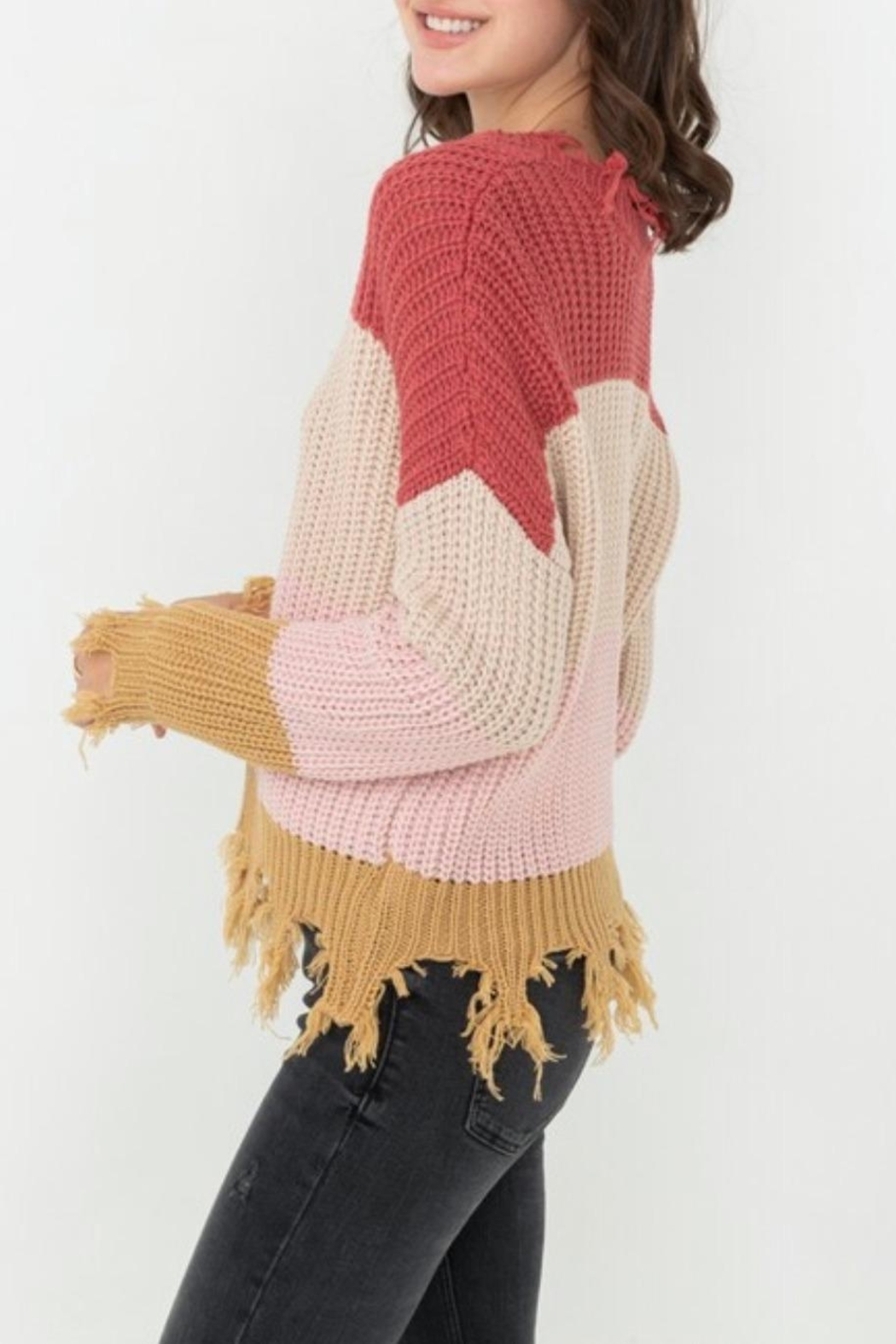 Love Tree Ripped Fringed Sweater - Side Cropped Image