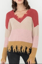Love Tree Ripped Fringed Sweater - Front cropped