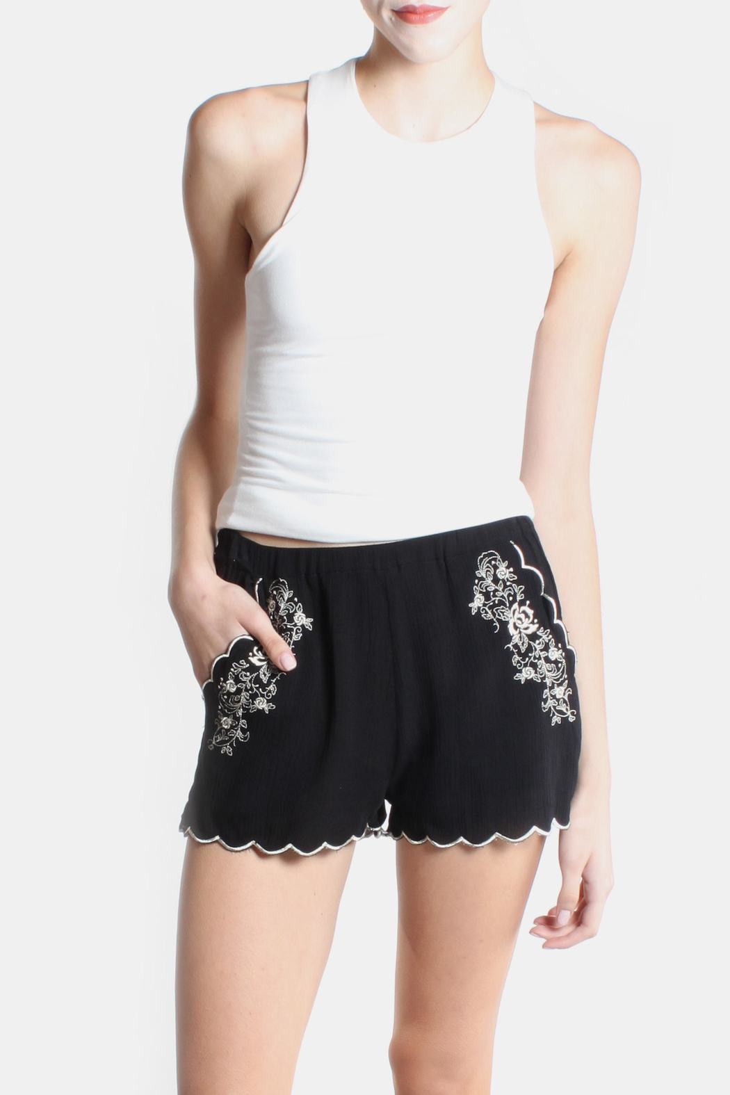Love Tree Rose Embroidered Shorts - Main Image