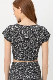 Love Tree Ruched Front Knit Floralcrop Top - Other