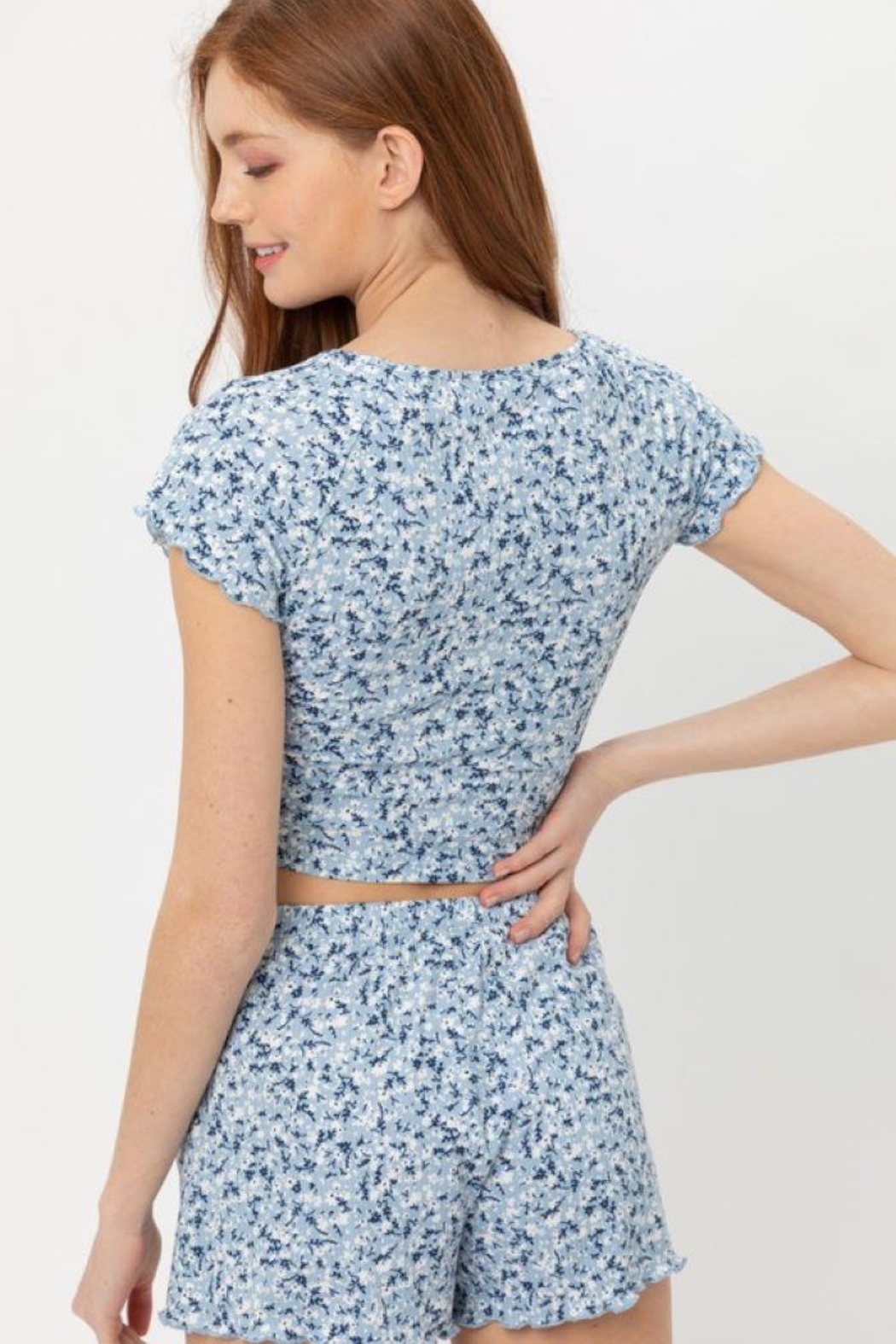 Love Tree Ruched Front Knit Floralcrop Top - Back Cropped Image