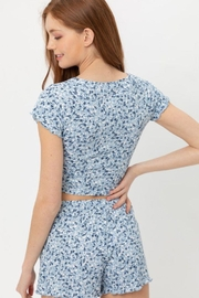 Love Tree Ruched Front Knit Floralcrop Top - Back cropped