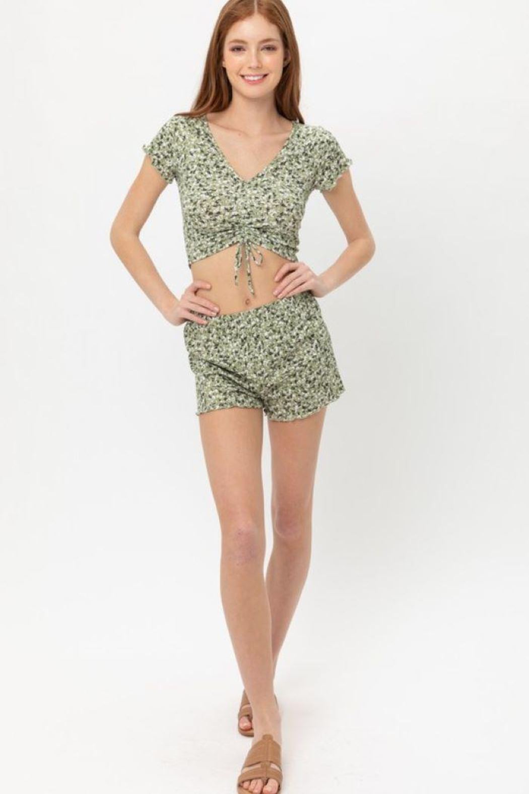 Love Tree Ruched Front Knit Floralcrop Top - Side Cropped Image