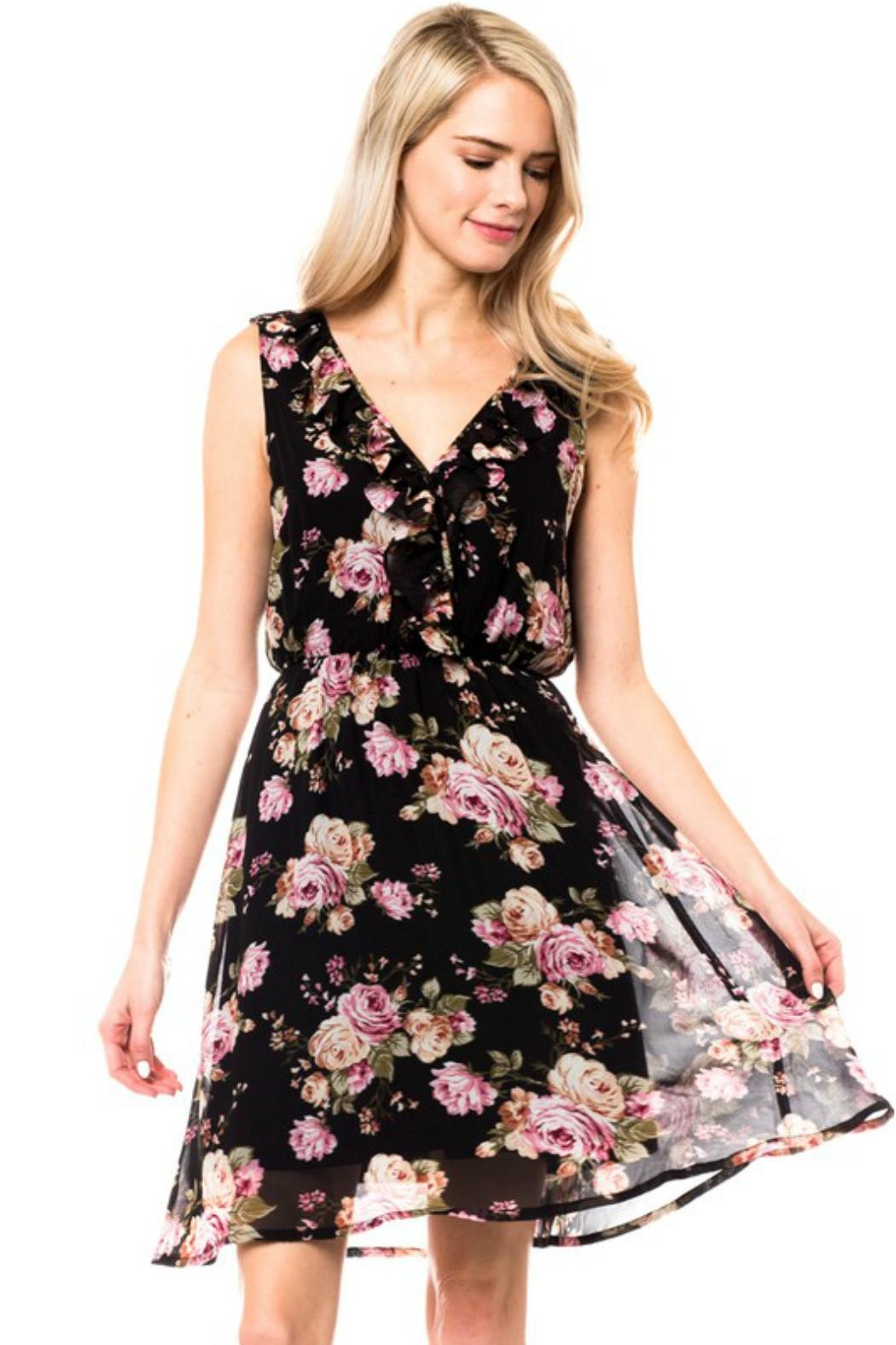 Love Tree Ruffle Floral Dress - Back Cropped Image