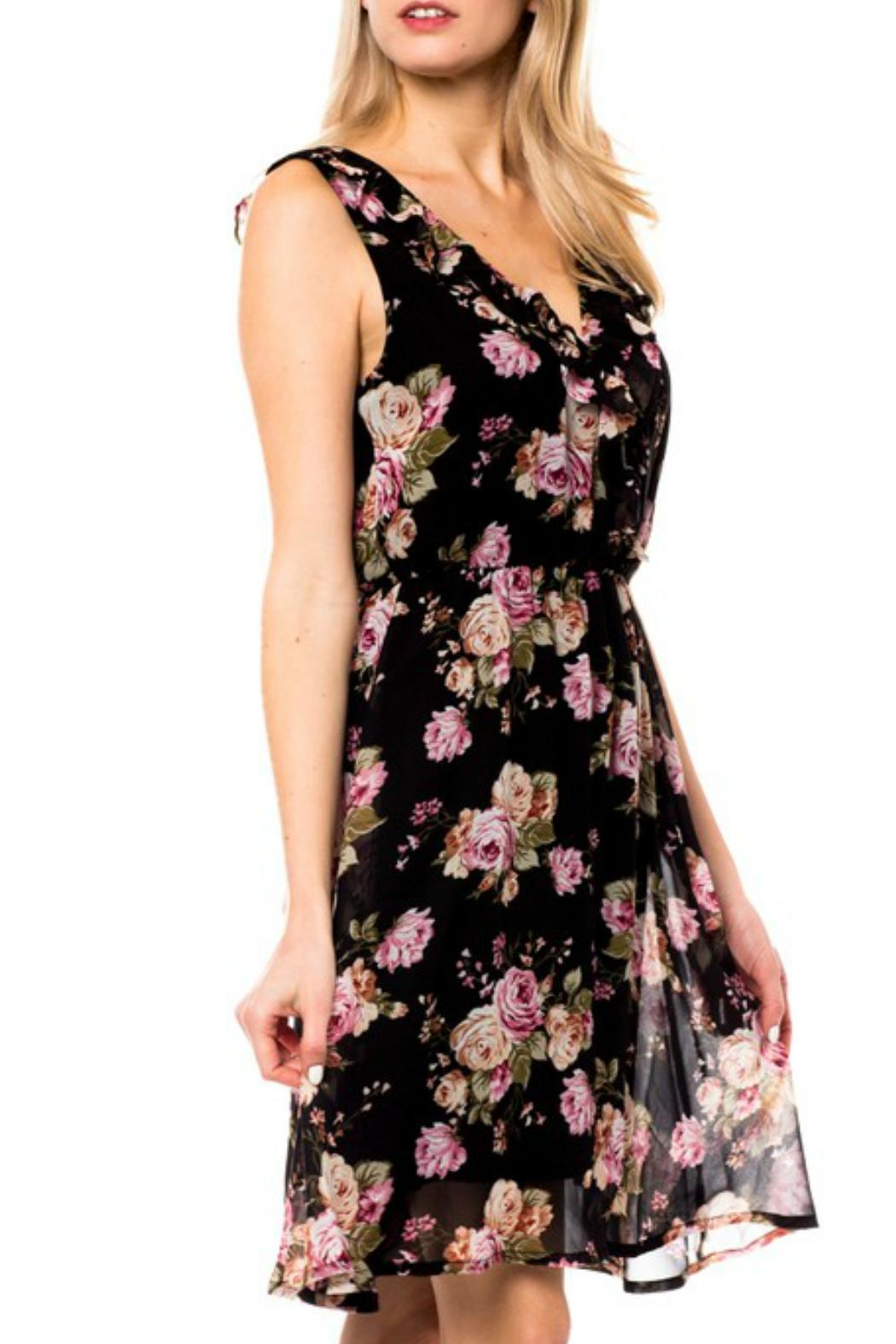 Love Tree Ruffle Floral Dress - Side Cropped Image