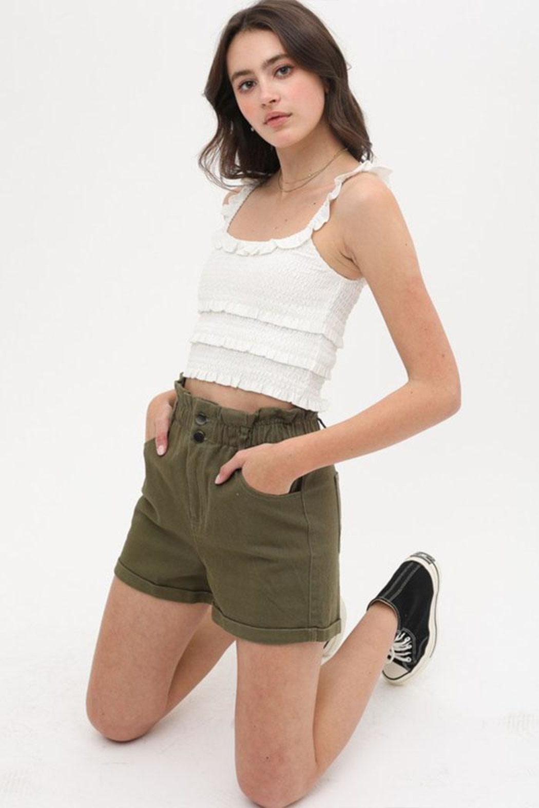 Love Tree Ruffle Tank Top - Front Cropped Image