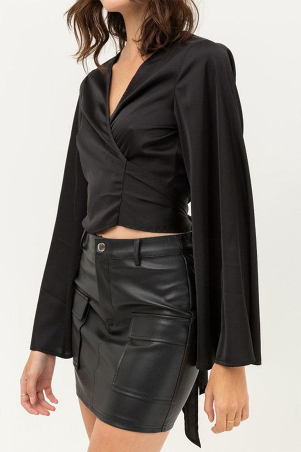 Love Tree Satin Wrap Top - Side Cropped Image