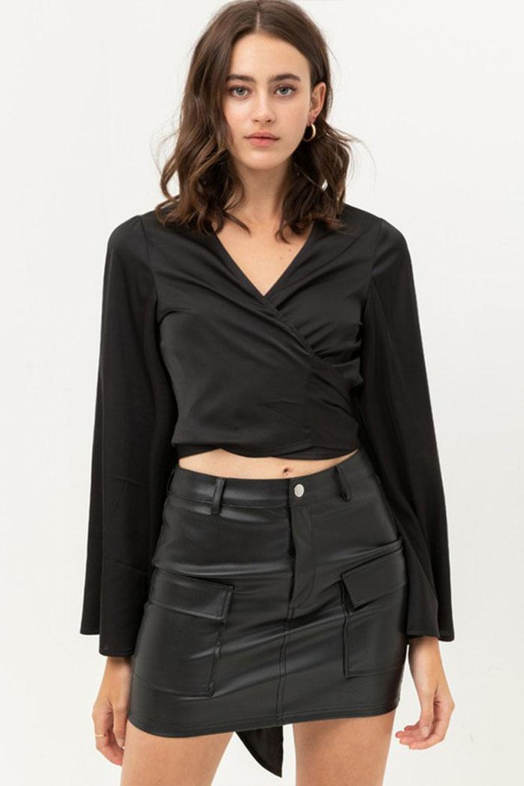 Love Tree Satin Wrap Top - Front Cropped Image
