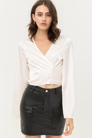 Love Tree Satin Wrap Top - Front cropped