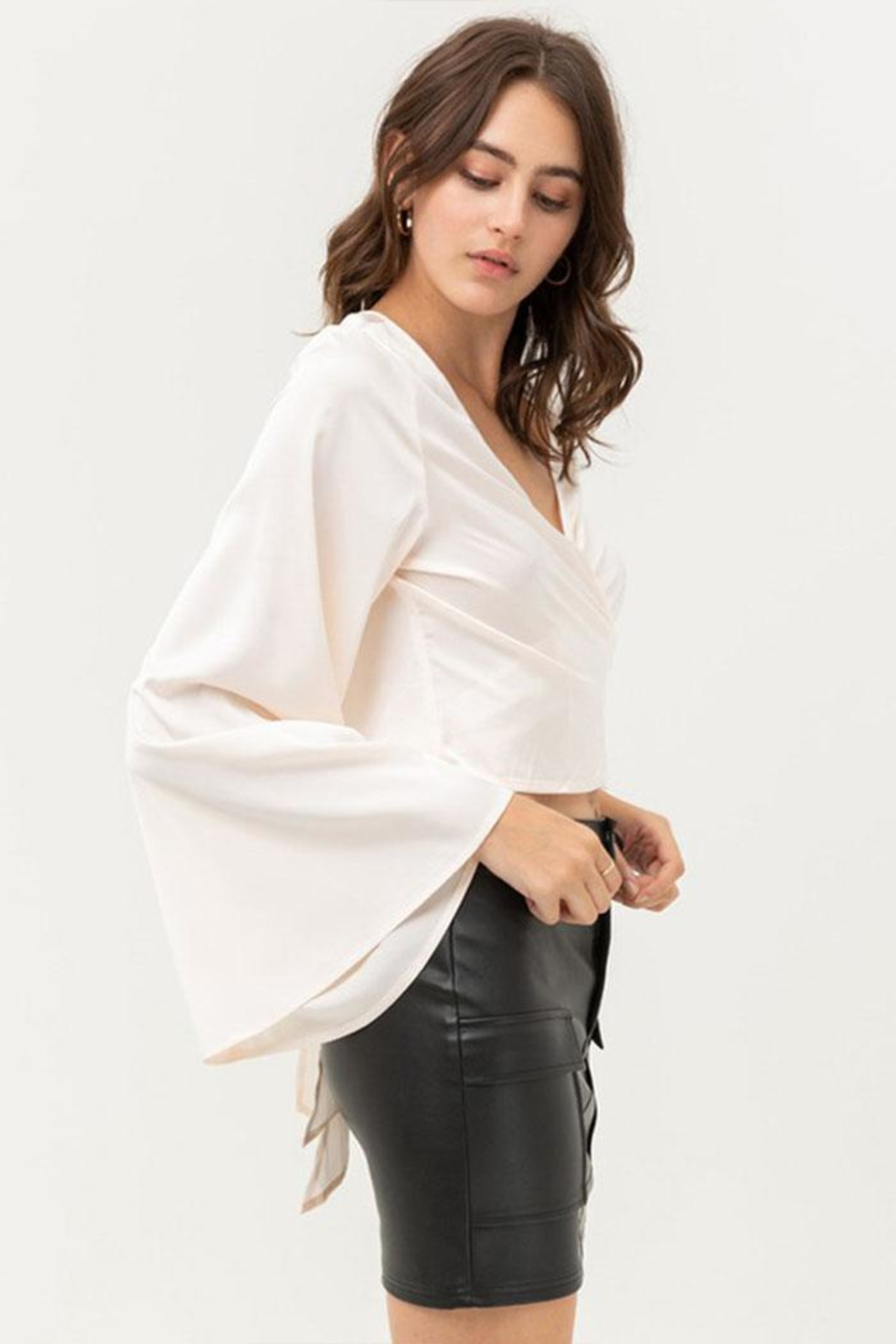 Love Tree Satin Wrap Top - Front Full Image