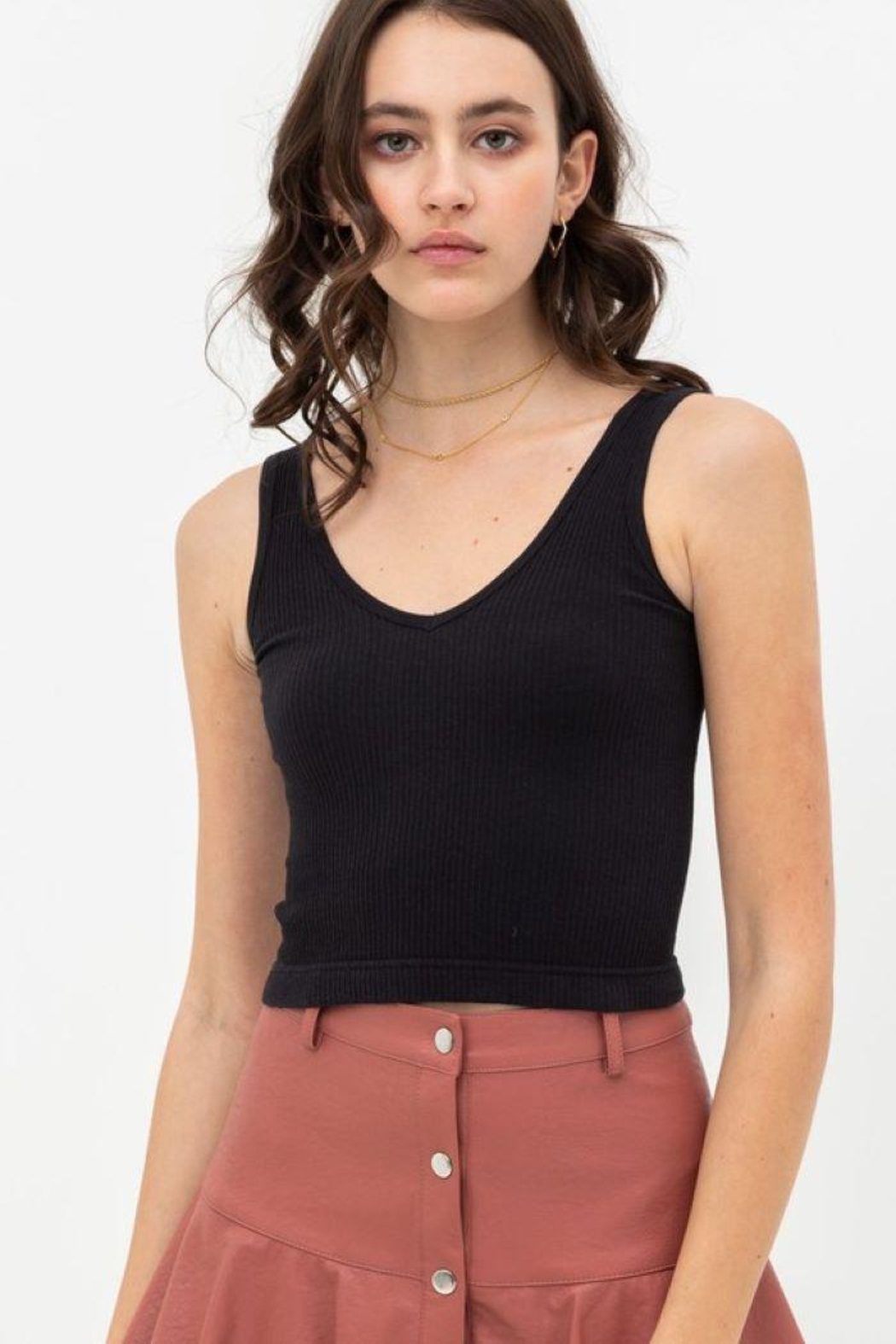 Love Tree Scooped Knit Tank Top - Main Image