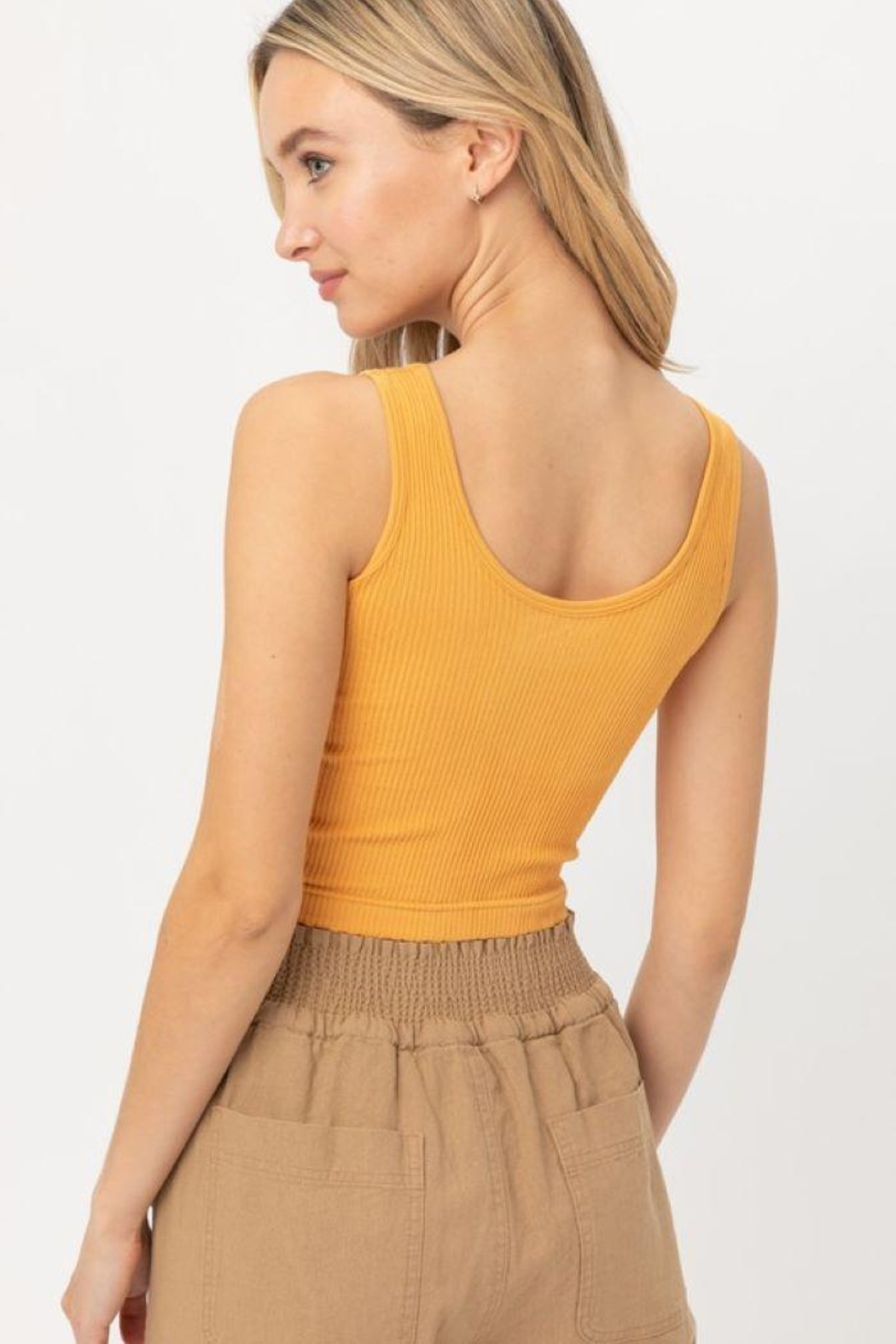 Love Tree Scooped Knit Tank Top - Side Cropped Image