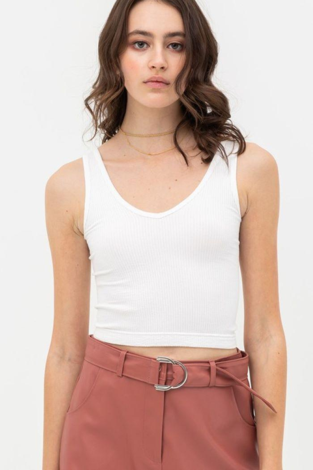 Love Tree Scooped Knit Tank Top - Front Cropped Image