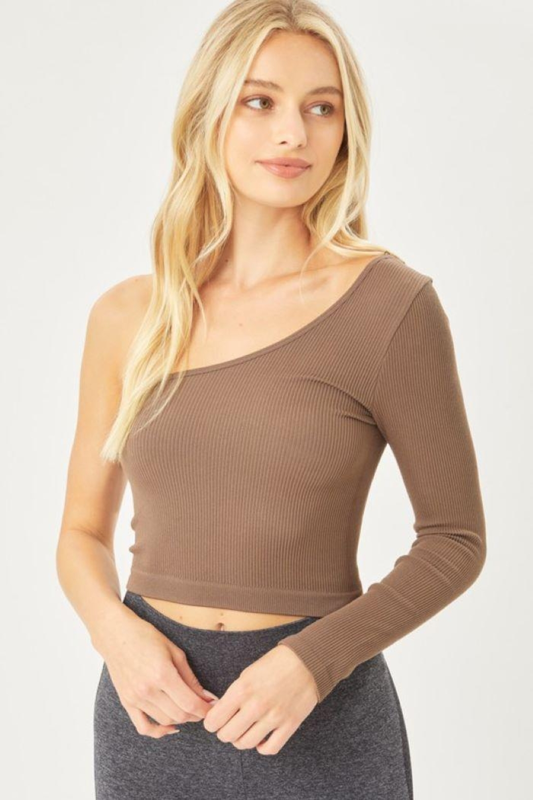 Love Tree Seamless Ots Crop Top - Front Cropped Image