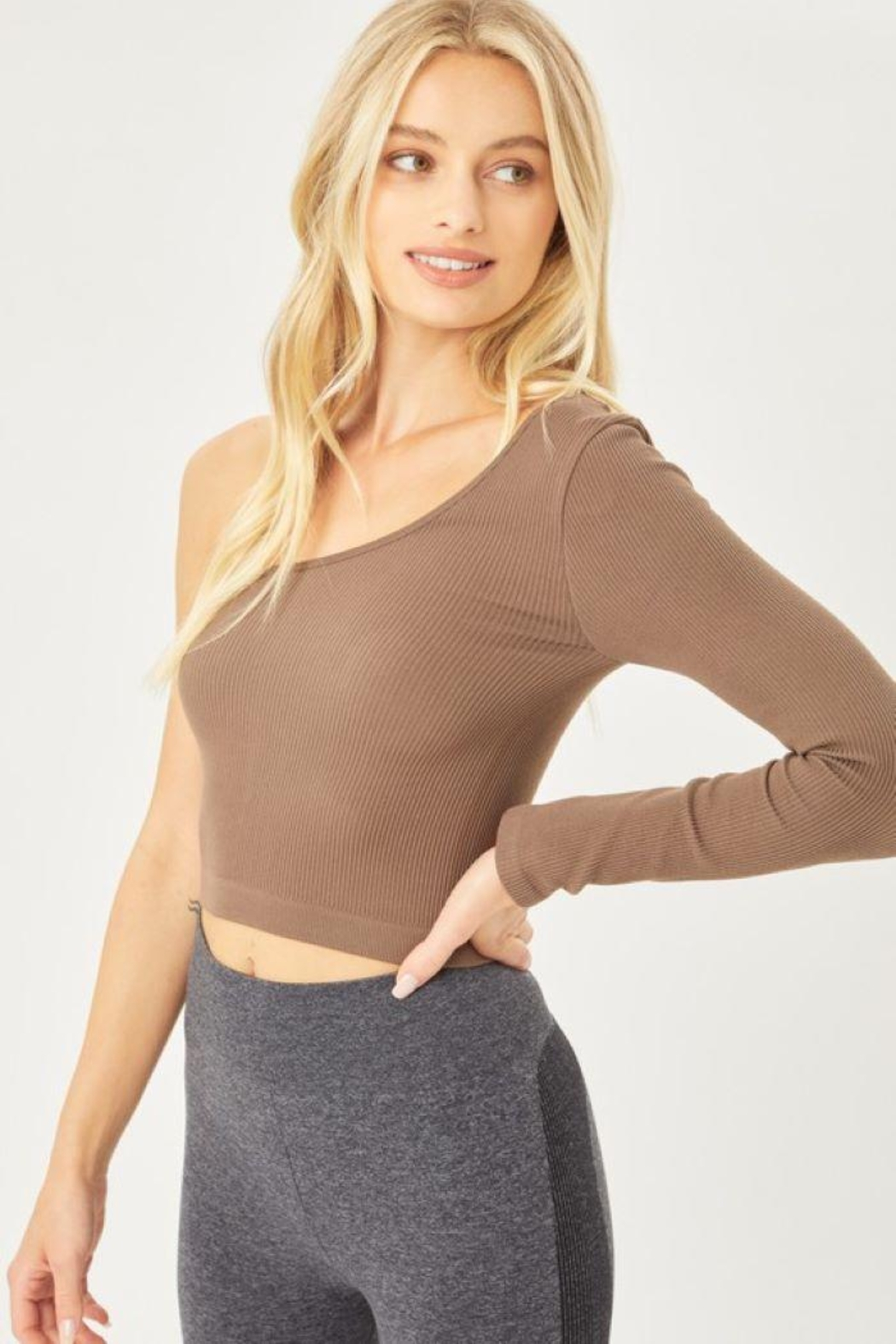 Love Tree Seamless Ots Crop Top - Front Full Image
