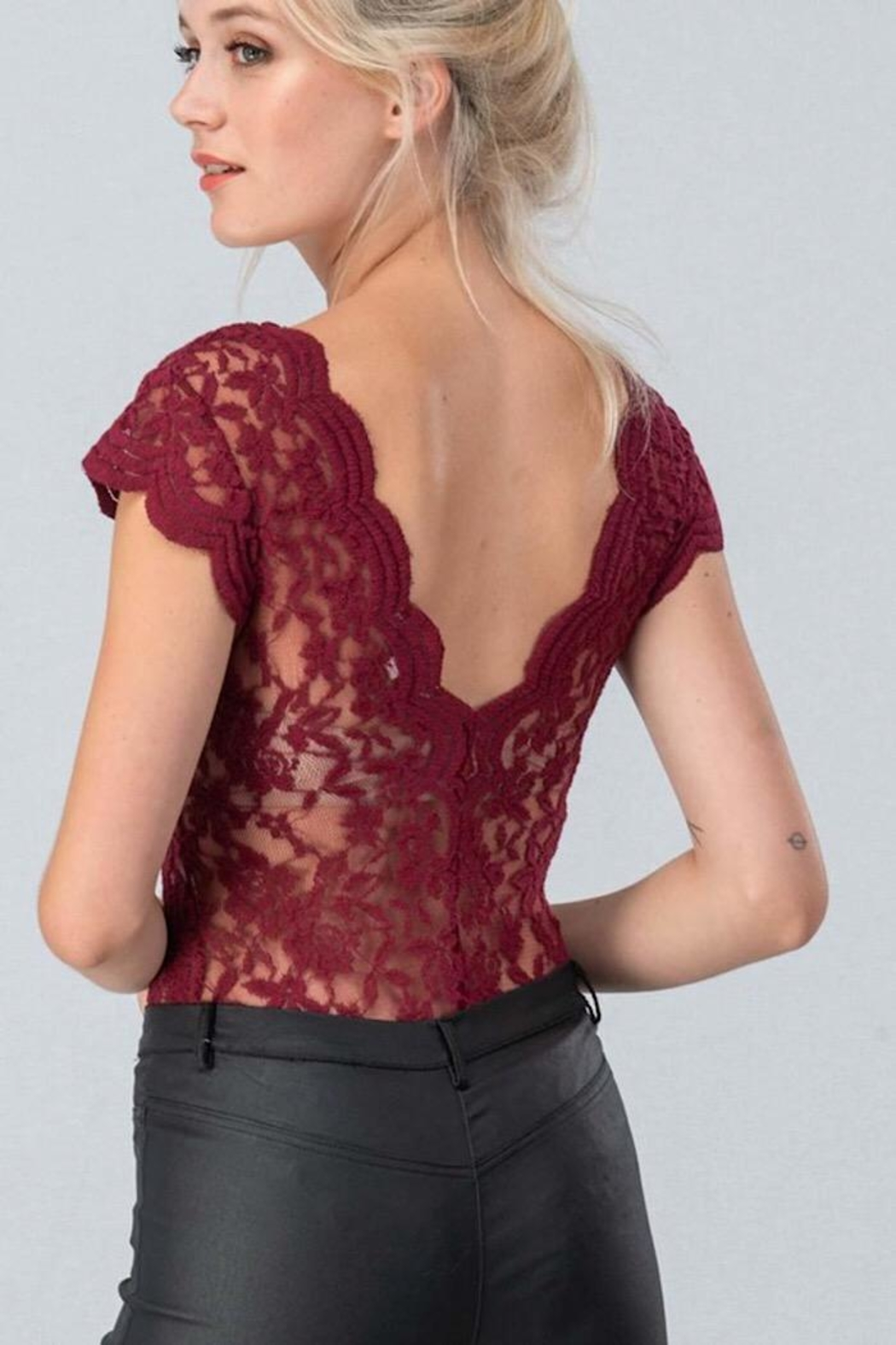 Love Tree Sheer Lace Bodysuit - Front Full Image