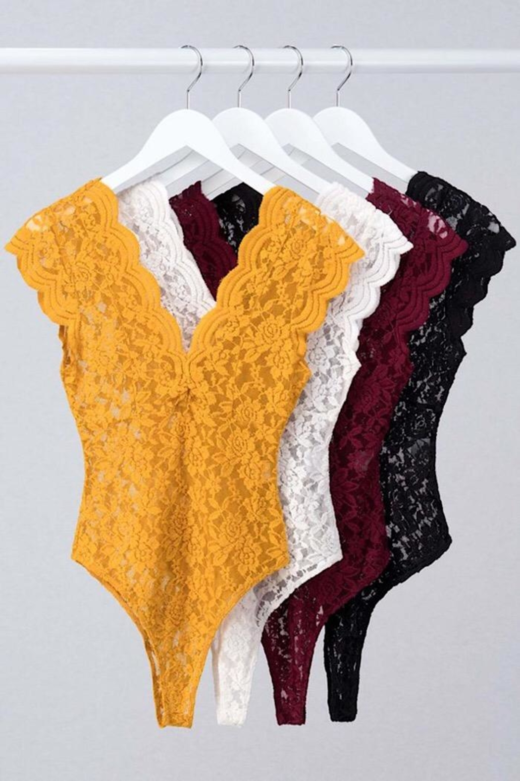 Love Tree Sheer Lace Bodysuit - Side Cropped Image