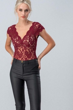 Love Tree Sheer Lace Bodysuit - Product List Image