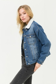 Love Tree Sherpa Denim Jacket - Side cropped