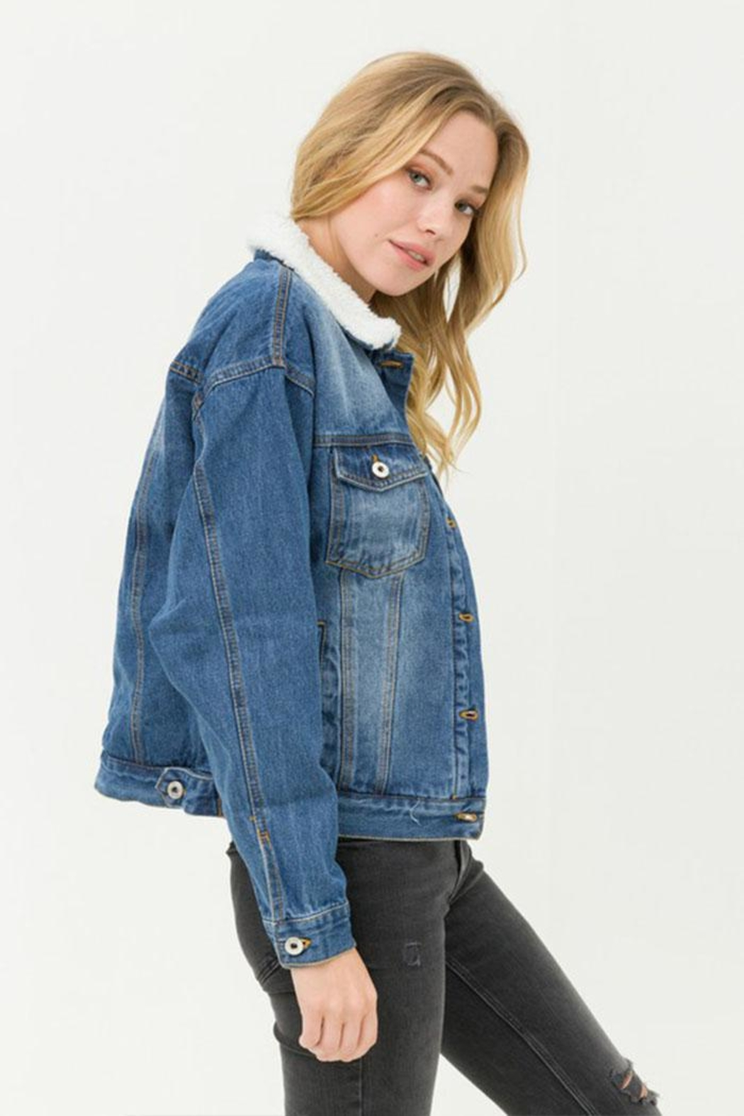 Love Tree Sherpa Denim Jacket - Back Cropped Image