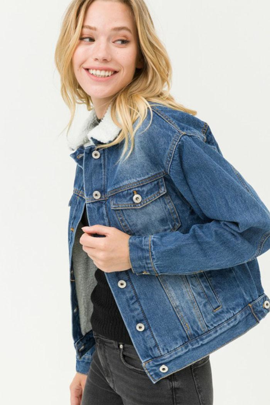 Love Tree Sherpa Denim Jacket - Front Full Image