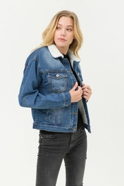 Love Tree Sherpa Denim Jacket - Front cropped