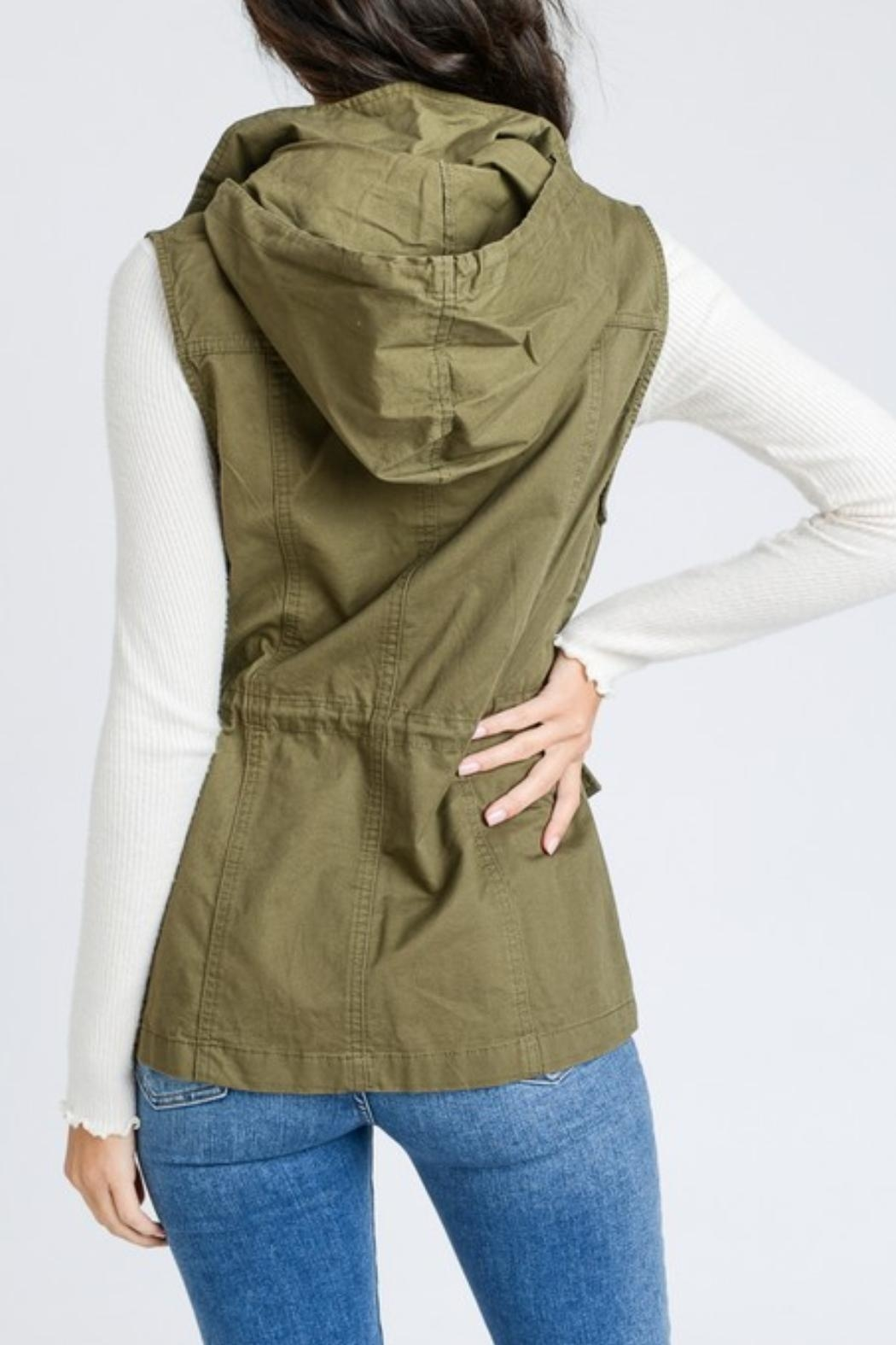 Love Tree Sleeveless Hooded Vest - Front Cropped Image