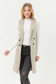 Love Tree Sleeveless Long Cardigan - Front cropped